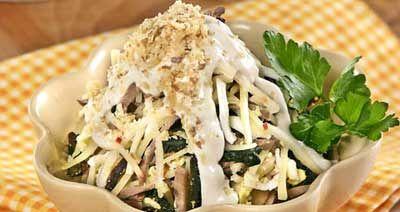 Рецепт салата с языком сыром и орехами